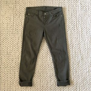 7FAM Olive Green Low Rise Skinny Jeans